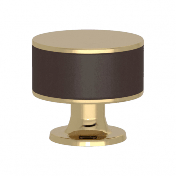Turnstyle Designs Cabinet knob - Chocolate leather / Polished brass - Model R5065