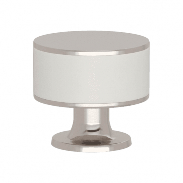 Turnstyle Designs Cabinet knob - White leather / Polished nickel - Model R5065