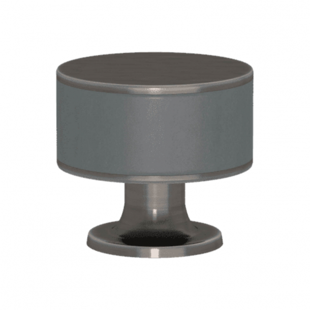 Turnstyle Designs Cabinet knob - Slate gray leather / Vintage nickel - Model R5065