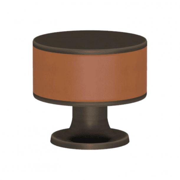 Turnstyle Designs Cabinet knob - Tan leather / Vintage patina - Model R5065