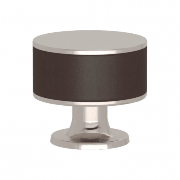 Turnstyle Designs Cabinet knob - Chocolate leather / Polished nickel - Model R5065
