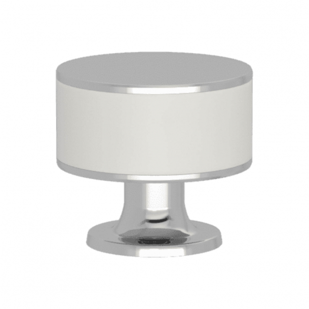 Turnstyle Designs Cabinet knob - White leather / Bright chrome - Model R5065