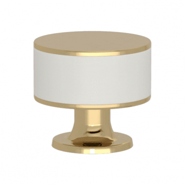 Turnstyle Designs Cabinet knob - White leather / Polished brass - Model R5065