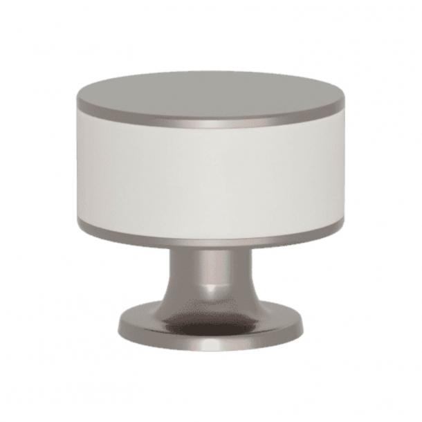 Turnstyle Designs Cabinet knob - White leather / Satin nickel - Model R5065