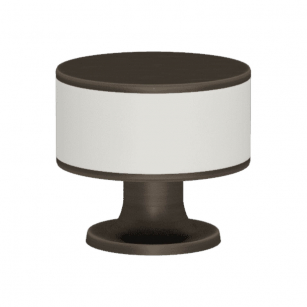 Turnstyle Designs Cabinet knob - White leather / Vintage patina - Model R5065