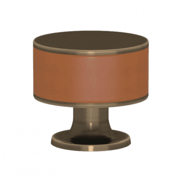Turnstyle Designs Cabinet knob - Tan leather / Antique brass - Model R5065