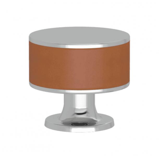 Uchwyt - Turnstyle Designs - Brązowa skóra / Błyszczący chrom - Model R5065