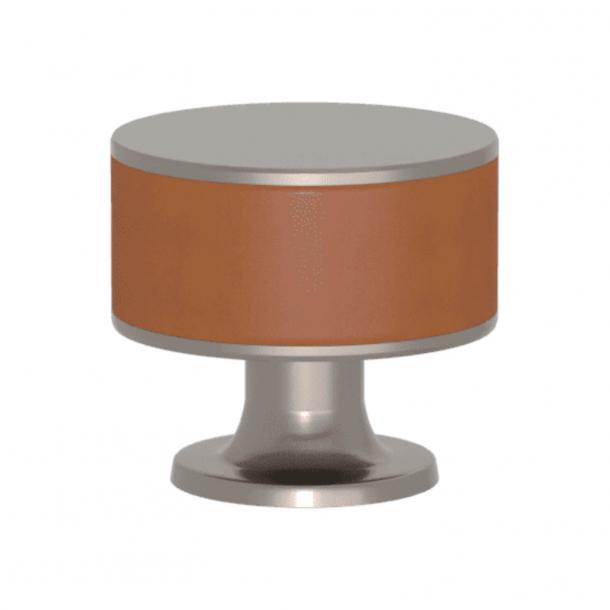 Turnstyle Designs Cabinet knob - Tan leather / Satin nickel - Model R5065