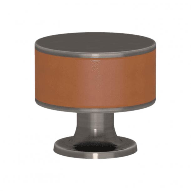 Turnstyle Designs Cabinet knob - Tan leather / Vintage nickel - Model R5065