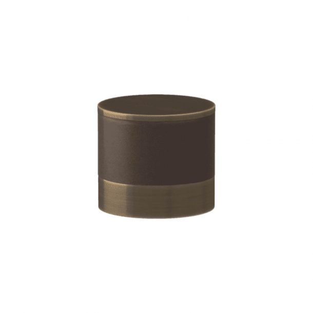 Turnstyle Designs Cabinet knob - Chocolate leather / Antique brass - Model R9202