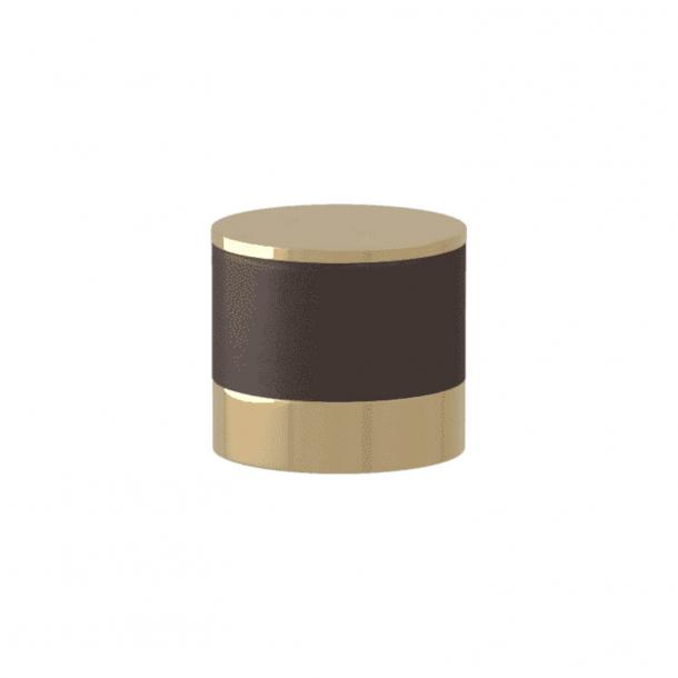 Uchwyt - Turnstyle Designs - Skóra w kolorze czekolady / Polerowany mosiądz - Model R9202