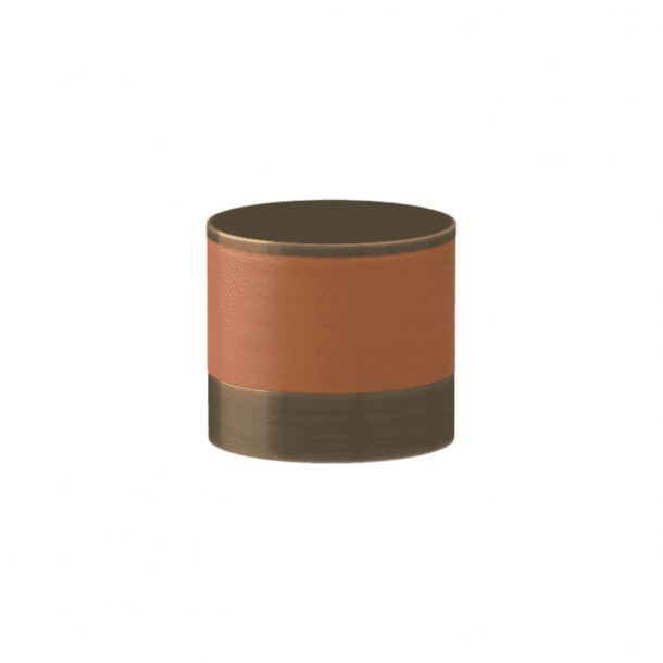 Turnstyle Designs Cabinet knob - Tan leather / Antique brass - Model R9202