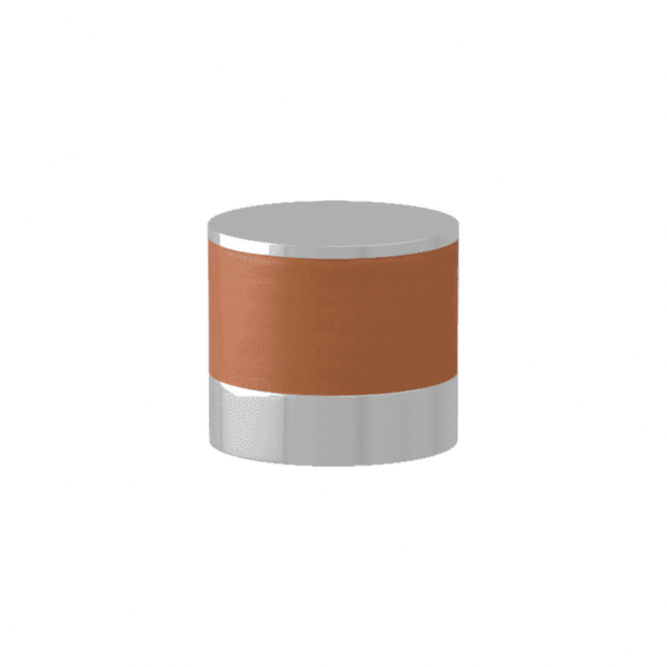 Turnstyle Designs Cabinet knob - Tan leather / Bright chrome - Model R9202