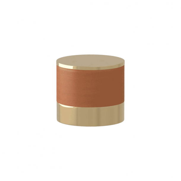 Turnstyle Designs Cabinet knob - Tan leather / Polished brass - Model R9202
