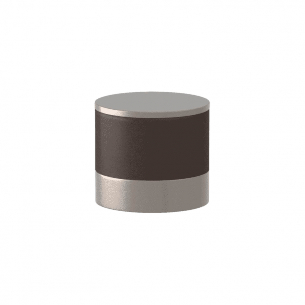Turnstyle Designs Cabinet knob - Chocolate leather / Satin nickel - Model R9202