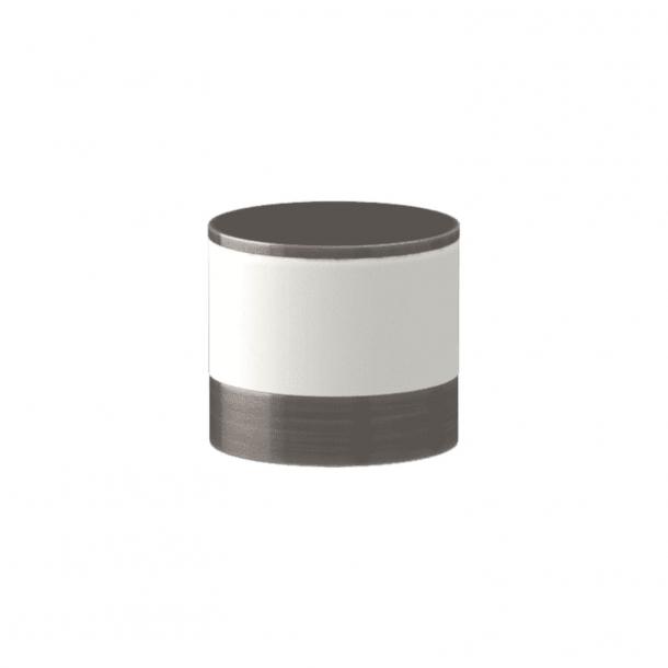 Turnstyle Designs Cabinet knob - White leather / Vintage nickel - Model R9202
