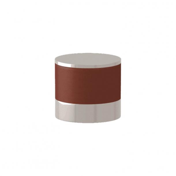 Turnstyle Designs Cabinet knob - Chestnut leather / Polished nickel - Model R9202