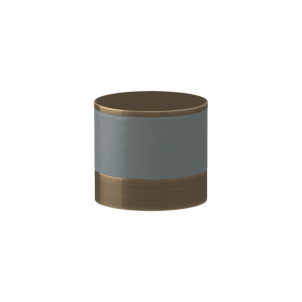 Turnstyle Designs Cabinet knob - Slate gray leather / Antique brass - Model R9202