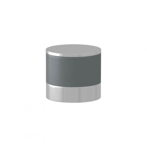 Turnstyle Designs Møbelknop - Skifergråt læder / Blank krom - Model R9202