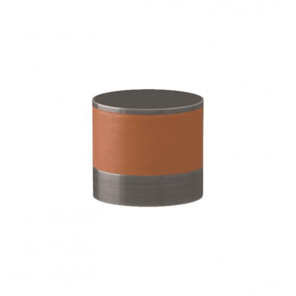 Turnstyle Designs Cabinet knob - Tan leather / Vintage nickel - Model R9202