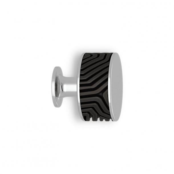 Möbelknopp - Svart brons / krom - Labyrint - Model b9322