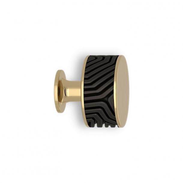 Möbelknopp - Svart brons / Polerad mässing - Labyrint - Model b9322