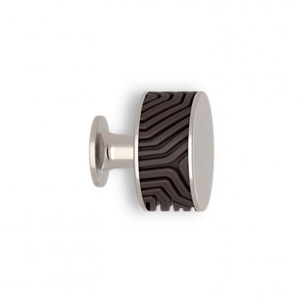 Möbelknopp - Kakao / Polerad nickel - Labyrint - Model b9322