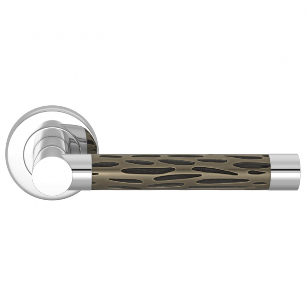 Turnstyle Design Door handle - Amalfine - Silver bronze / Bright chrome - Model P1015