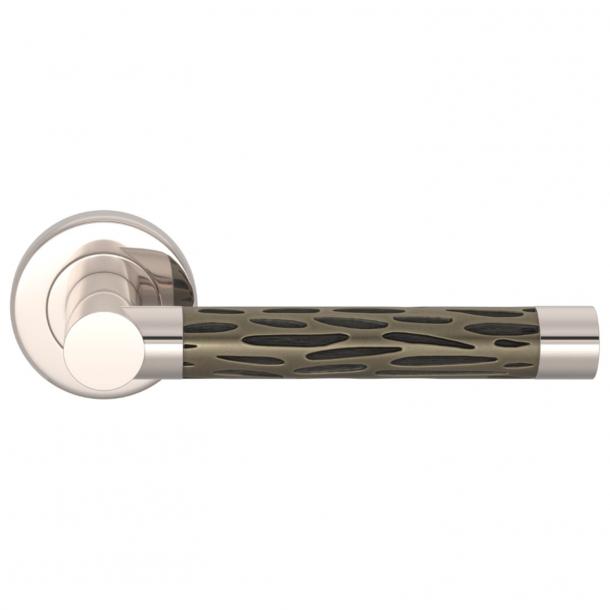 Turnstyle Design Door handle - Amalfine - Silver bronze / Polished nickel - Model P1015