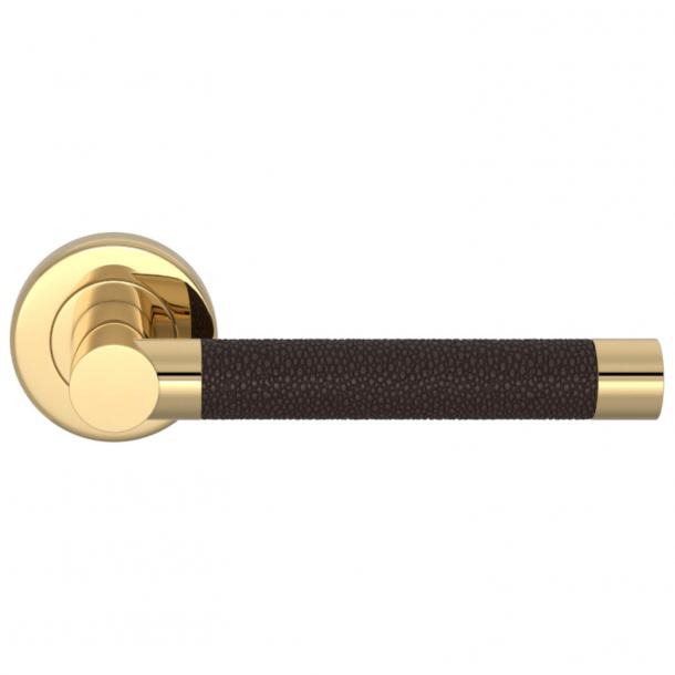 Turnstyle Design Door handle - Cocoa / Polished brass - Model P1019