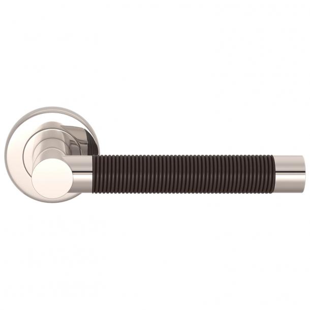 Turnstyle Design Door Handle - Amalfine - Cocoa / Polished nickel - Model WIRE
