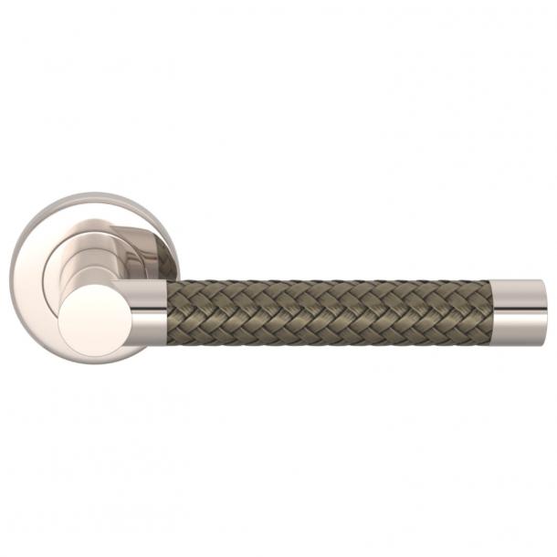 Turnstyle Design Door Handle - Silver bronze Amalfine / Polished nikkel - Model R2076