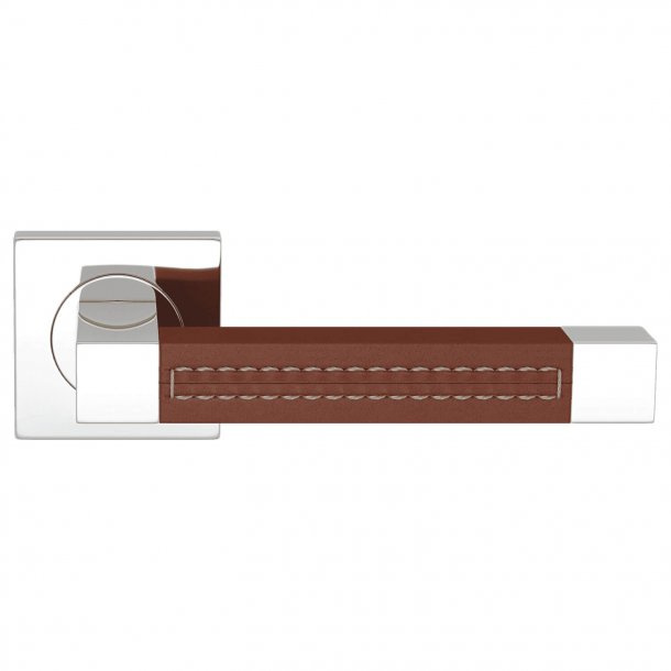 Door handle leather - Chestnut / Chrome - SQUARE STITCH OUT (R1025)