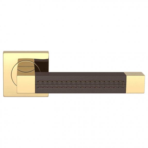 Klamka skórzana - czekolada / Polerowany mosiądz - SQUARE STITCH OUT (R1025)