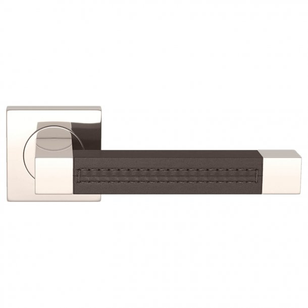Klamka skórzana - czekolada / Polerowany nikiel - SQUARE STITCH OUT (R1025)