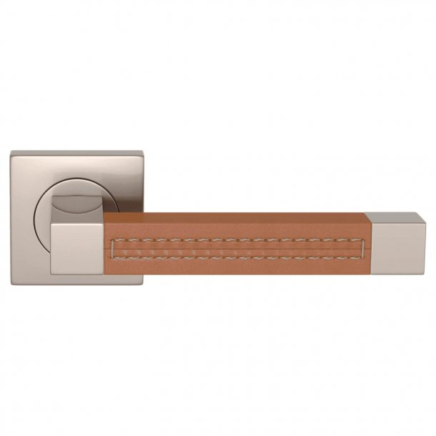 Door handle leather - Tan / Satin nickel - SQUARE STITCH OUT (R1025)