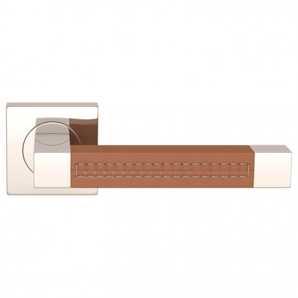 Door handle leather - Tan / Polished nickel - SQUARE STITCH OUT (R1025)