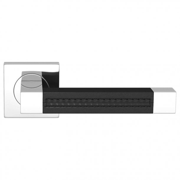 Door handle leather - Black / Chrome - SQUARE STITCH OUT (R1025)