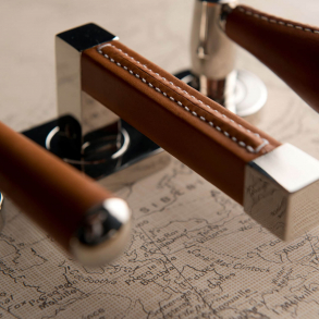 Door handles R1025 - Square Stitch Out Recess Leather