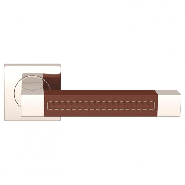 Klamka do drzwi - Turnstyle Design  - Skóra kasztanowa / Nikiel polerowany