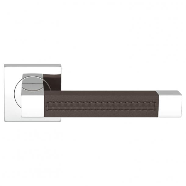 Klamka do drzwi - Turnstyle Design - Skóra czekoladowa / Chrom - SQUARE STITCH OUT (R1025)