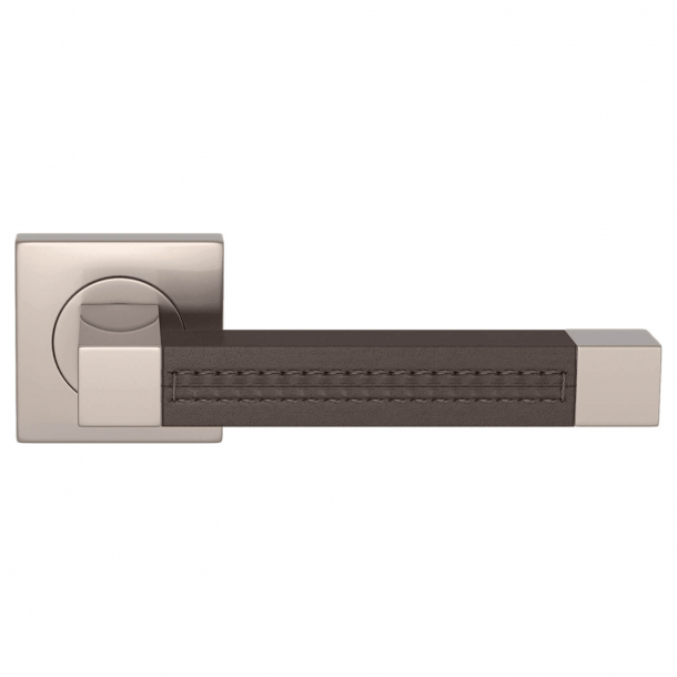 Door handle leather - Chocolate / SAtin nickel - SQUARE STITCH OUT (R1025)
