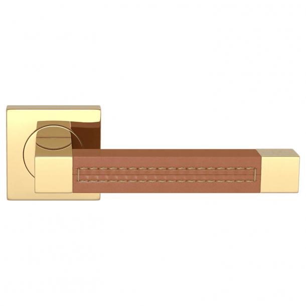 Klamka do drzwi - Turnstyle Design - Skóra jasno brązowa / Polerowany mosiądz