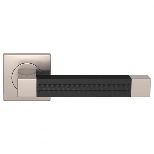Klamka do drzwi - Turnstyle Design - Czarna skóra / Nikiel satynowy - SQUARE STITCH OUT (R1025)