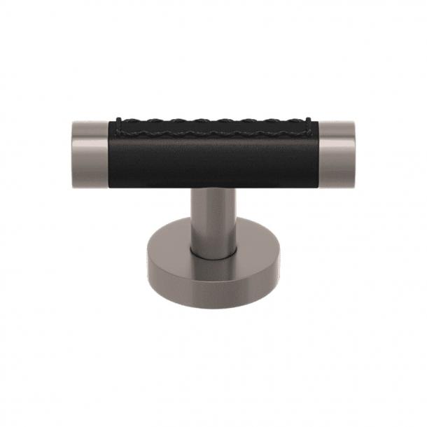 T-bar - Black leather / Matte nickel - Model R1026