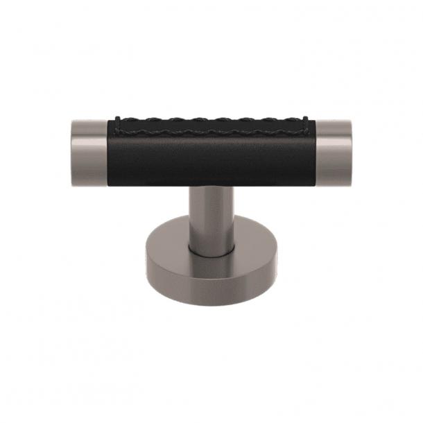 Uchwyt - T-bar - Czarna skóra / Nikiel matowy - Model R1026