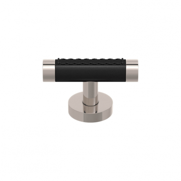 T-bar - Cabinet handle - Black leather and Polish nickel - Model R1026