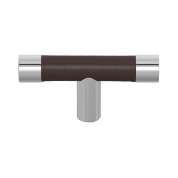 Uchwyt do mebli - Skóra w kolorze czekolady / Chrom błyszczący  - Turnstyle Designs - Model R1198