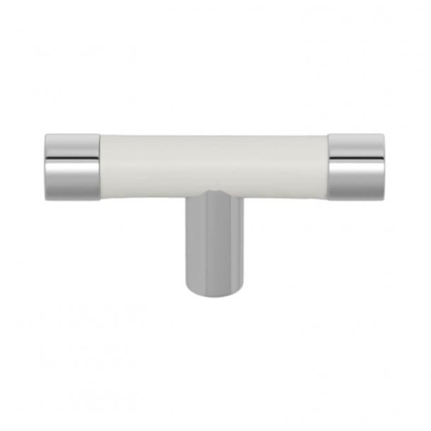 Uchwyt do mebli - Biała skóra / Chrom błyszczący - Turnstyle Desigsn - Model R1198