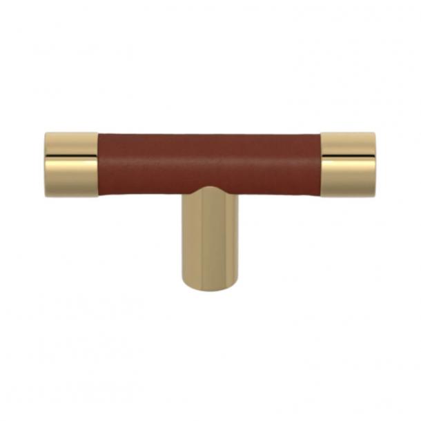 Turnstyle Designs T-bar - Kastanjefarvet læder / Poleret messing - Model R1198